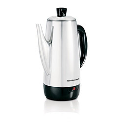 Hamilton Beach - Percolator 12 Cup - This Hamilton Beach Stainless Steel Percolator brews 12 cups of hot flavorful coffee fast less than one minute per cup. It has a Stainless Steel permanent filter basket. Spout is drip-free for easy pouring. Handle is cool-touch and cord is detachable and for tabletop serving and easy storage. Measurement marks are included for easy filling. Ready-to-serve light indicates coffee is ready and gentle keep warm has begun.