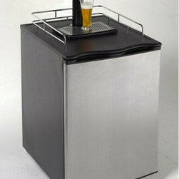 Avanti - Avanti Keg Beer Dispenser with CO2 Tank - Decorative Black Cabinet with Stainless Steel Door|Polished Chrome Tower and Safety Rail on Molded Top|Removable Spill Tray|Reversible Door|5 lb CO2 Canister (Supplied Empty)|High Tech Easy to Read Pressure Gauge|Holds U.S. Standard 1/4 and 1/2 Kegs|Can be Converted to an Auto Defrost Refrigerator  This item cannot ship to APO/FPO addresses.  Please accept our apologies.
