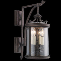 Fine Art Lamps - Louvre Outdoor Wall Mount - Louvre Outdoor Wall Mount features a clear hand blown glass shade with antique candles and a fine bronze finish. Available in three sizes. Either (2) or (4) 60-watt, 120 volt B10 candelabra base incandescent bulbs are required, but not included. Dimensions: 8W 22H or 11W x 25H or 12W x 29H.