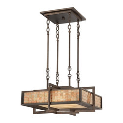 Quoizel - Quoizel QF1191CRC Zenith Transitional Pendant Light - Industrial and chic describes this Zenith fixture.  A lustrous renaissance copper finish, mosaic tile and etched glass painted in a rich amber complete the design of this grand piece.