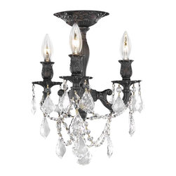 Elegant Lighting - 9203 Rosalia Collection Dark Bronze Finish Swarovski Spectra Crystals Flush Moun - Elegant lighting for gracious living, Rosalia chandeliers are a lustrous departure in crystal design.  Beginning with the solid brass sculptured and finely detailed frame, this series may be dressed up or down to fit in many rooms.