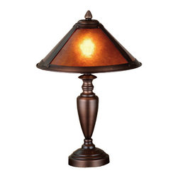 Meyda - 17 Inch Height Van Erp Amber Mica Accent Table Lamps - Color theme: Amber Mica Mahogany