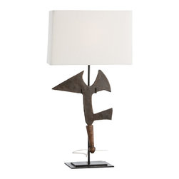"""Arteriors - Swazi Lamp - Inspired by African currency and ceremonial pieces, this iron sculpture mounted on a stepped natural iron base is the perfect lamp for a worldly, masculine library or sitting room.  A true conversation piece!  Topped with an off-white linen shade with matching lining.  Lamp body: 8"""" w x 6"""" d x 19 1/2"""" h  Socket Wattage: 100  Switch Color: Black  Switch Location: At Socket  Switch Type: 3-Way Rotary  Cord Color: Taupe Fabric  Linen shade: 16 1/2"""" w x 8"""" d x 10"""" h"""