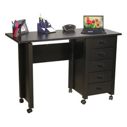 "Venture Horizon - Mobile Folding Desk & Craft Table w 5 Drawers - Folds for storage. Casters add mobility. Large work surface. 5 Handy drawers. Solid, sturdy, durable and easy to clean. Constructed from durable, stain resistant and laminated wood composites that includes MDF. Made in the USA. Assembly required. Weight: 57 lbs.. Table size:. Folded size: 20 in. W x 18 in. D x 29.5 in. H. Assembled size: 45 in. W x 18 in. D x 29.5 in. H. Drawers: 11.25 in. L x 13.25 in. W x 3 in. HFoldaway mobile desk center. Redesigned with larger and deeper drawers. Perfect for crafting! We took our best selling mobile desk and added some style. That's right. This version has thick corner posts and matching cup style handles made of durable metal like plastic. They seem to flow naturally from the drawer front panel. ""Beefy"" 2 inch thick legs give it a solid look and feel. Easy on the eyes as well as the pocketbook. Whether you want a sewing center, a handy organizer from which to pay bills or an extra desk for the home office, our Mobile Work Center is right for the job. Six dual-track carpet casters will let you roll it anywhere...to work or out of sight. The five deep, roomy drawers provide storage for just about anything you have in the way of office supplies or crafts. Because of it's increased dimensions each drawer will accommodate large sized craft paper. Constructed from durable melamine laminated particle board the Mobile Desks is stain resistant, easy to clean and will offer a life time of reliable service."