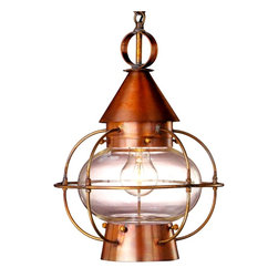 Lanternland - Cape Cod Onion Pendant Hanging Lantern, Medium, Antique Copper, Clear Glass - The Cape Cod Onion Pendant Hanging Lantern, shown here in our traditional Antique Copper finish with clear glass, is an heirloom-quality lantern made by hand in the USA. Refined enough for indoor use but rugged enough to last decades outdoors,  this verstile copper lantern is equally at home indoors or outdoors.  Use indoors over a kitchen island or outdoors in an entryway or patio. Constructed from pure copper or brass, the Cape Cod Onion Pendant Hanging Lantern will never rust or corrode making it perfect for use as outdoor lighting in waterfront and damp locations.