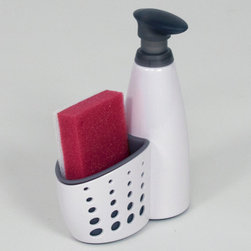 Casabella Sink Sider Soap Dispenser - The Sink Sider Soap Dispenser holds 13 fl. Oz. of hand or dish soap and conveniently stores a sponge (included).The dispenser fits on the narrow back of a sink and features a soft flexible liner to prevent it from moving while you're washing dishes.Product Features                        13 fl Oz. capacity            Sponge included