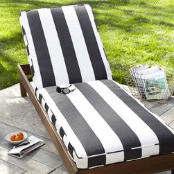 Chaise Cushion, Black & White Stripe Sunbrella - Take a monochromatic style outdoors for spring with a simple yet striking black and white lounger.