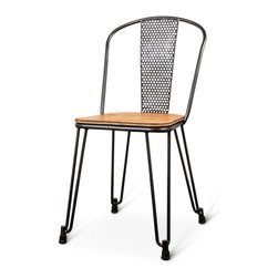 Kathy Kuo Home - Brayden Industrial Loft Mesh Wood Leather Dining Side Chair - Pair - Twice as enticing, this pair of chairs has Industrial Loft design and Modern lines. Polished black metal with curved legs and oversized feet forms the base and houses a sturdy, natural light birch seat. The middle back supports have detailed, circular cut-outs for a jaunty, geometric vibe to this eye-pleasing pair.