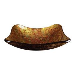 Yosemite Home Decor - Metallic Gold Glass Basin - Rectangular metallic autumn blend with textured exterior
