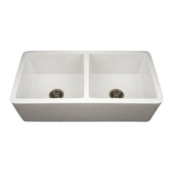 Whitehaus - Whitehaus Wh3719-Biscuit Double Kitchen sink - Duet reversible double Kitchen Sink fireclay sink with a smooth front apron