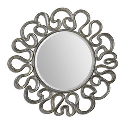 """Uttermost - Uttermost Aeneas Round Silver Mirror 08116 - The generous, 1 1/4"""" beveled mirror is accented by a curvaceous frame finished in silver leaf with a light gray wash."""
