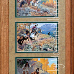 Rocky Mountain Publishing - Bear Country, Clark Kelley Price Western Art Framed Set 10x20 - Western  art  paintings  included  in  this  set  called  Bear  Country  Triple  combine  the  majesty  of  great  landscape  art  while  showing  great  action  scenes.  The  art  in  this  grouping  of  three  Clark  Kelley  Price  prints  features  cowboys  as  they  sit  atop  their  horses  surveying  their  surrounding,  a  horse  in  flight,  and  Native  American  hunters.  These  individual  moments  in  time  are  captured  and  combined  to  create  great  western  art  for  the  collector  or  avid  western  decor  enthusiast.  Notice  as  well  the  great  detail  used  to  depict  the  landscape  and  mountain  scenes  as  distinct  and  realistic  images  of  the  surroundings.                  Dimensions:  Glass  and  Matting  10x20;  Exterior  frame  dimensions  approximately  16x26              glass,  3-inch  double  mats,  and  brass  title  plate  included              Western  painting  treated  with  an  acid-free  sealant  to  protect  from  fading              Hanging  system  pre-installed              Artist:  Clark  Kelley  Price;  Allow  2  weeks  for  shipping