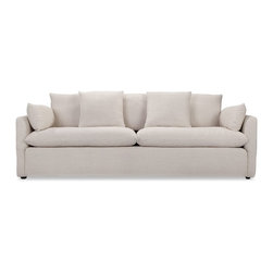 Cameron Sofa in White Linen - Our take on casual, relaxed California style, the Cameron is perfect for cat naps or movie nights at home. Elegant, crisp tapered arm rests and two included cushions complete the look.