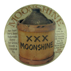 """Zeckos - 12 In. Diameter """"Moonshine"""" Metal Wall Sign - This cool wall plaque advertises 'Moonshine, Our Finest Down Home Backwoods Brew'. The sign is made of metal, and measures 12 inches in diameter, approximately 2 inches deep. It has a pre-drilled holes in the top, so it is easy to mount to any wall in your home, restaurant, or bar. It makes a great gift for a friend, and is sure to start a conversation."""