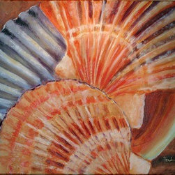 Seashells (Original) by Fontaine Jacobs - I've spent a good deal of my life near the oceansailing, vacationing etc. Seashells have such wonderful texture color and value I had to capture it.