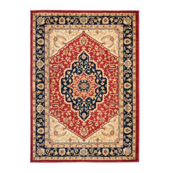 "Safavieh - European Austin 4'x5'7"" Rectangle Red-Navy Area Rug - The Austin area rug Collection offers an affordable assortment of European stylings. Austin features a blend of natural Red-Navy color. Machine Made of Polypropylene the Austin Collection is an intriguing compliment to any decor."