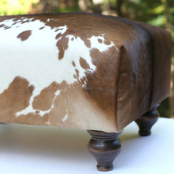 Cowhide Ottoman - Brown and White Hide - Handcrafted