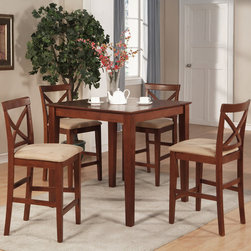 """East West Furniture - 5Pc Pub Set with 39"""" Counter Height Table and 4 Microfiber Seat Stools - 5Pc Pub Set with 39"""" Square Counter Height Table and 4 Microfiber Upholstered Seat Stools; The Pub Set has contemporary styling to complement any decor.; This dinette is ideal for a small kitchen or dining area.; It has durable construction with Asian solid wood, available in two lovely finishes -- oak or rich brown.; The square table has simple, straight legs, and the table top has a straight-edged border.; The counter-height stools feature attractive X-backs with a choice of wood seats or neutral-colored, upholstered seats.; Weight: 116 lbs; Dimensions: Table: 36""""L x 36""""W x 36""""H; Stools: 18""""L x 17""""W x 41.5""""H"""