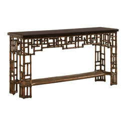 Lexington - Tommy Bahama Home Royal Kahala Mystic Console - The Black Penn Shell with a contrast inlay of Young Penn Shell top and leather-wrapped rattan base makes a dramatic statement in any room. The classic Pan-Asian design makes it a signature piece for this collection.