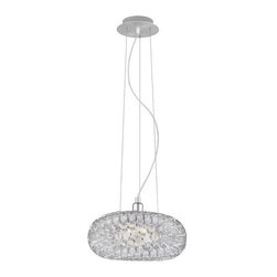 Eglo Lighting - Rebell 89063A - Pendant Lamp | Eglo - Eglo Lighting Rebell�89063A�Pendant Lamp features an�aluminum finish. Manufacturer:�Eglo LightingSize:�15.75�in. diameter x 59 in. max height (field cuttable cord) Light Source:�1 x 100 watt A19 lamp - not included Certifications: ETL Location: Dry Dimmable
