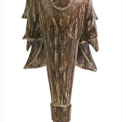 "Imax Worldwide Home - Addae Wood Carved Standing Angel - Bold lines and old world styling give this unique winged statue a Gothic flare. The Addae angel is hand-crafted with a natural Albasa wood grain finish.; Country of Origin: Indonesia; Weight: 2.2 lbs; Dimensions: 20.5""h x 7""w x 4.75""d"