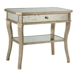 Kathy Kuo Home - Antique Mirror Aged Pewter Side Bedside End Table - This beautiful side table has an Aged Pewter finish with an antiqued mirror inset and a drawer for storage.