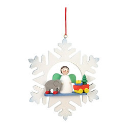 Alexander Taron - Alexander Taron Christian Ulbricht Ornament- Angel in Snowflake- 3.5H x 3W x 1D - Christian Ulbricht hanging ornament - Snowflake with Angel and toys - Made in Germany.