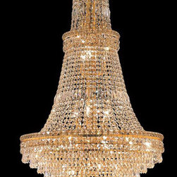 Elegant Lighting - Elegant Lighting 2526G28G/EC Tranquil 34 Light Foyer Pendants in Gold - 2526 Tranquil Collection Large Hanging Fixture D28in H56in Lt:34 Gold Finish (Elegant Cut Crystals)
