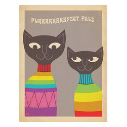 Anderson Design Group - The Mod Collection: Rainbow Cats Gallery Print - These Purrrrrrfect Pals are sure to brighten any room. This whimsical print features a colorful pair of colorful cats rendered in a modern style made popular in the 1950s and 1960s. Original, hand-illustrated design from Anderson Design Group in Nashville, TN.