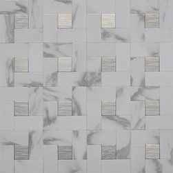 EKB Innovations EKB-03-108 Peel-n-Stick Wall Tile, White Marble/Silver - This one makes a huge statement with its combo of metal and marble.