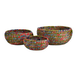 Curtis Woven Bowls - Set of 3 - *This oversized set of three bowls are woven from a mix of sea grass and accented with colorful cloth strips.