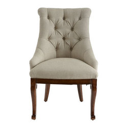 "Horchow - Lucille Host Chair - Classic host chair with tufted back and uniquely carved side chairs will be handsome additions to any dining or living area. Made of pine solids and mahogany veneers. Flax/cotton upholstery. Host chair, 23""W x 26.5""D x 41""T. Boxed weight, approximate..."