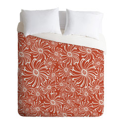 DENY Designs - Heather Dutton Bursting Bloom Spice Twin Duvet Cover - Wake up on the bright side of the bed with this fun duvet cover. Made from soft woven polyester, it features custom-printed oversize whirling blooms in white on a spicy orange background. Pop in your favorite duvet, zip the hidden zipper and rest easy.