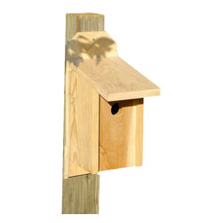 Heartwood - Western Bluebird Joy Box Bird House - This  beautiful  birdhouse  is  the  perfect  addition  to  any  home  or  garden  of  your  choice.  Season  after  season,  this  delightful  nesting  box  is  a  joy  to  behold  and  a  breeze  to  maintain  thanks  to  the  easy  twist  latch  and  side-front  panel  that  also  inverts  for  winter  roosting.  Rugged  construction  features  13/16  solid  cypress  and  headed  ring  shank  stainless  steel  nails.  This  bird  house  is  one  you  are  sure  to  enjoy  in  the  years  to  come.  Also  sized  for  all  variety  of  residents.                  6-1/2x10x17              1-9/16  hole              Handcrafted  in  USA  from  renewable,  FSC  certified  wood