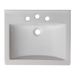American Imaginations - 21-in. W x 18.5-in. D Ceramic Top - This transitional ceramic top belongs to the exquisite Omni design series. It features a rectangle shape. This ceramic top is designed to be installed as an drop in ceramic top. It is constructed with ceramic. It is designed for a 4-in. o.c. faucet. The top features a 0.75-in. profile thickness. This ceramic top comes with a enamel glaze finish in White color. Compact rectangular white ceramic top. Can be installed as a counter top on a cabinet. This Ceramic Top features Chrome hardware. Double fired and glazed for durability and stain resistance. Quality control approved in Canada and re-inspected prior to shipping your order