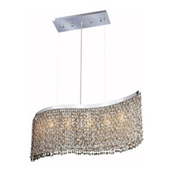 """PWG Lighting / Lighting By Pecaso - Warrane 5-Light 9"""" Crystal Chandelier 1102D32C-GT-RC - Shimmering and glamorous rows of crystals make these Crystal Chandeliers eye-catching designs. Each combination in the Warrane Collection is an exceptional work of art providing an enchanting centerpiece to any room."""