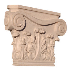 """Inviting Home - Portland Capital - oak wood (CP12OK/tmc12) - Capital in white oak wood 10""""W x 2""""D x 8-1/4""""H bottom: 6-7/8""""W x 1-1/4""""D Wood capitals are hand carved in deep relief design from premium selected North American hardwoods such as alder beech cherry hard maple red oak and white oak. They are triple sanded and ready to accept stain or paint. Hardwood capitals are a great way to enhance any pilaster or column."""