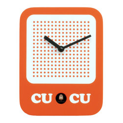Progetti - Cucuradio 2225 Orange Wall Clock - Simple shape with iconic graphic, a radio in the '60s-style dress the cuckoo clock designed by Francesca Macchi. Nice object with sleek and compact size are placed in a harmonious way inside homes and offices giving a touch of originality and color. The structure is made of wood with the bird positioned in the lower center part. Battery quartz movement. The Cuckoo strike is switched off automatically during the night controlled by a light sensor.