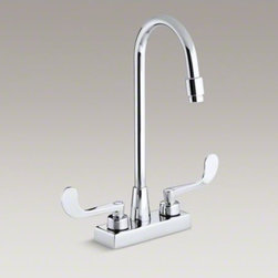 KOHLER - KOHLER Triton(R) centerset commercial bathroom sink faucet with gooseneck spout - With practical design and solid brass construction, Triton faucets are an exceptional value. Competitively priced Triton faucets feature washerless ceramic valving, a durable Polished Chrome finish and vandal-resistant index buttons. The two-handle center