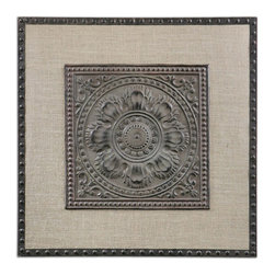 Uttermost - Uttermost Filandari Stamped Metal Wall Art 13826 - Lightly Stained Burlap Matting With Stamped Metal Details Finished In Rust Bronze With A Light Tan Wash.