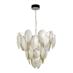 Kouboo - Mother of Pearl Shell Pendant Lamp - Total height with hanging chain 64 inches.