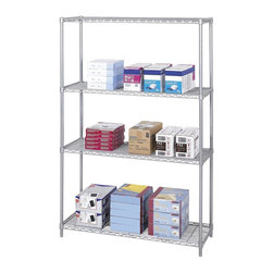 Safco - 48 in. Industrial Wire Shelving Starter Unit in Metallic Gray - Four open wire shelves. Four posts. Snap-together clips. Prevents dust accumulation. Powder coated finish. Material Thickness: 10 ga. (shelf surface), 3 ga. (frame), 16 ga. (post), 6 ga. (wave pattern). Shelf adjusts in 1 in. increments. 1000 lbs. evenly distributed shelf carrying capacity. 2500 lbs. evenly distributed overall carrying capacity. GREENGUARD Certified. Made from steel. Available in additional finish. 48 in. W x 18 in. D x 72 in. H (58 lbs.). Assembly InstructionGet wired! With Wire Shelving you're sure to get the storage space you need. These shelves are designed to get your office organized and keep it that way. Easily store office supplies, break room supplies, paper, marketing materials and other supplies so they are easy to find and incur no damage. Great for your supply room, storage area, mail room, warehouse, storage closet, garage area or even a classroom, assembly area or production area. Get storage where you need it, and always be able to find what you're looking for!