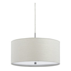 Cal Lighting - Cal Lighting FX-3524/1P Nianda 2 Light Pendant with Fabric Shade - Cal Lighting FX-3524/1P Nianda 2 Light Pendant with Fabric ShadeThis sleek and modern pendant features a textured drum shade, making it the choice selection for any room in your home.Cal Lighting FX-3524/1P Features: