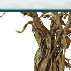 Bronze leafy sea dragon (end table) - Close up of sea grass and sea horse