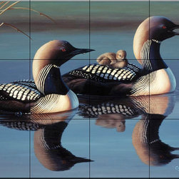 The Tile Mural Store (USA) - Tile Mural - Arctic Loons - Cf - Kitchen Backsplash Ideas - This beautiful artwork by Cynthie Fisher has been digitally reproduced for tiles and depicts a pair of Loons sitting in a lake.  Images of waterfowl on tiles are great to use as a part of your kitchen backsplash tile project or your tub and shower surround bathroom tile project. Pictures of egrets on tile, images of herons on tile and decorative tiles with ducks and geese make a great kitchen backsplash idea and are excellent to use in the bathroom too for your shower tile project. Consider a tile mural of water fowl for any room in your home where you want to add interesting wall tile.