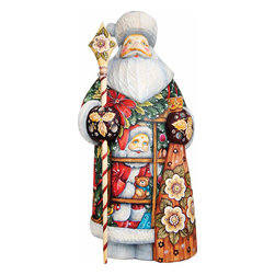 "Artistic Wood Carved Santa Claus Give a Gift Sculpture - Measures 10""H x 3""L x 4.25""W and weighs 2 lbs. G. DeBrekht fine art traditional, vintage style sculpted figures are delightful and imaginative. Each figurine is artistically hand painted with detailed scenes including classic Christmas art, winter wonderlands and the true meaning of Christmas, nativity art. In the spirit of giving G. DeBrekht holiday decor makes beautiful collectible Christmas and holiday gifts to share with loved ones. Every G. DeBrekht holiday decoration is an original work of art sure to be cherished as a family tradition and treasured by future generations. Some items may have slight variations of the decoration on the decor due to the hand painted nature of the product. Decorating your home for Christmas is a special time for families. With G. DeBrekht holiday home decor and decorations you can choose your style and create a true holiday gallery of art for your family to enjoy. All Masterpiece and Signature Masterpiece woodcarvings are individually hand numbered. The old world classic art details on the freehand painted sculptures include animals, nature, winter scenes, Santa Claus, nativity and more inspired by an old Russian art technique using painting mediums of watercolor, acrylic and oil combinations in the G. Debrekht unique painting style. Linden wood, which is light in color is used to carve these masterpieces. The wood varies slightly in color."
