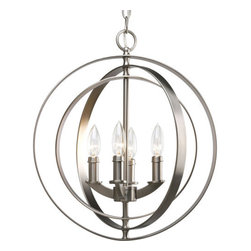 "Thomasville Lighting - Thomasville Lighting P3827-126 Burnished Silver Equinox Equinox 4 - Thomasville Lighting P3827-126 Four Light Equinox Foyer PendantFully functional interlocking rings actually pivot for an infinite variety of positions in this four light sphere foyer lantern. Inspired by ancient astronomy armillary spheres, add a rustic Old World flair to your study, home office, or living room.Renew a room with Equinox pendants inspired by ancient astronomy armillary spheres. Featuring a combination of classic and modern inspirations, Equinox contains interlocking rings that can be rotated in different ways for a variety of looks for interior settings.Thomasville Lighting P3827-126 Features:Burnished Silver FinishSeveral Optional Shades AvailableThomasville Lighting P3827-126 Specifications:Number of Bulbs: 4Watts Per Bulb: 60Bulb Base: CandelabraBulb Type: IncandescentBulb Included: NoUL Listed: Dry LocationHeight: 18.375""Maximum Overall Height: 94""Wire Length: 180""The story of Thomasville began in Thomasville, North Carolina, in 1904. At the time, they offered just one product – a chair. The ""Thomasville Chair"" it was called. The chair was so beautifully crafted and well made that people responded by asking them to create other pieces as well. For over 100 years Thomasville has set the standard for luxury design for the entire furniture industry. Now Thomasville is making available over a century of expertise in quality craftsmanship and exquisite styling in a stunning new line of elegant lighting. Thomasville Lighting will add beauty and value to your home with the timeless style and superior workmanship you have come to expect only from Thomasville."