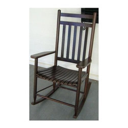 Dixie Seating - Slat Porch Adult Rocking Chair (Black) - Finish: BlackSimple, timeless design elements make this classic rocking chair a treasured addition to any porch, sun room or patio. Designed for both indoor and outdoor use, the rocker has a slat seat and is crafted of solid ash in your choice of different finish options. Classic indoor and outdoor jumbo adult slat rocking chair. Made of solid ash hardwood. Made in the USA. Pictured in Walnut finish. Ready to assemble format. Minimum assembly required - Only the runners on the rocker needs to be attached. Underside is unsanded. 25 in. W x 19 in. D x 42 in H