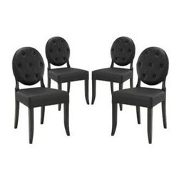 "LexMod - Button Dining Side Chair Set of 4 in Black - Button Dining Side Chair Set of 4 in Black - Playing off the whimsical spatial elements of the Casper Chair, this buttoned vinyl installment gives transparency a home. Bring light-filled moments inward with an inner sense of laughter and delight. With its padded white vinyl seating and black legs, settle fancy as you uncover yet greater horizons. Set Includes: Four - Buttoned Casper Chair Simple Modern Dining Chair, Rubber Wood Frame, Dense Foam Padding for Comfort, Seven Symmetrically Placed Buttons Overall Product Dimensions: 23""L x 20.5""W x 37.5""H Seat Height: 19""HBACKrest Height: 19.5""H - Mid Century Modern Furniture."