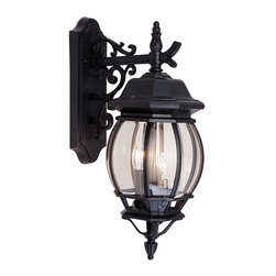 Livex Lighting - Livex Frontenac 7707-04 Outdoor Hanging Wall Lantern - 21.5H in. Black - 7707-04 - Shop for Wall Mounted from Hayneedle.com! Add a touch of classic style to your entry with the Livex Frontenac Outdoor Hanging Wall Lantern. With its shaped cap and decorative plate hanger and finial this light features a black finish and clear beveled glass. It uses three 60-watt candelabra-base bulbs (not included) and measures 8W x 21.5H inches with a 12-inch wall extension.About Livex LightingLivex Lighting is a manufacturer and distributor of decorative residential lighting. The company was founded in 1993 and is now headquartered in a 150 000-square-foot facility in Morristown New Jersey. Livex Lighting currently offers over 2 500 products ranging from lighting fixtures for indoor and outdoor applications to lampshades chandelier shades ceiling medallions and accent furniture. The goal of Livex Lighting is to provide the highest-quality product at the most affordable price. We are constantly responding to the ever-changing needs styles and fashions of the lighting industry while always maintaining the highest standards of quality.
